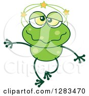 Clipart Of A Dizzy Green Frog Royalty Free Vector Illustration