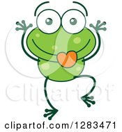 Clipart Of A Goofy Green Frog Making Funny Faces Royalty Free Vector Illustration