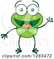 Clipart Of A Friendly Waving Greeting Green Frog Royalty Free Vector Illustration