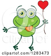 Clipart Of A Green Frog In Love Holding A Heart Balloon Royalty Free Vector Illustration
