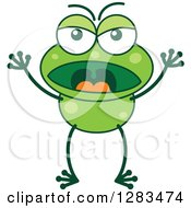 Clipart Of An Angry Yelling Green Frog Royalty Free Vector Illustration