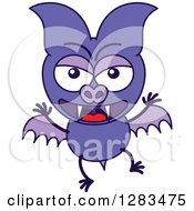 Clipart Of An Angry Purple Vampire Bat Royalty Free Vector Illustration by Zooco