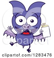 Clipart Of A Happy Purple Vampire Bat With A Beer Royalty Free Vector Illustration by Zooco