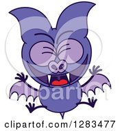 Clipart Of A Happy Celebrating Purple Vampire Bat Royalty Free Vector Illustration by Zooco