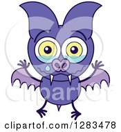 Clipart Of A Sad Crying Purple Vampire Bat Royalty Free Vector Illustration by Zooco
