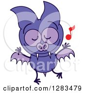 Clipart Of A Dancing Purple Vampire Bat Royalty Free Vector Illustration by Zooco