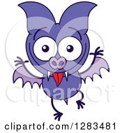 Clipart Of A Goofy Purple Vampire Bat Making Funny Faces Royalty Free Vector Illustration by Zooco