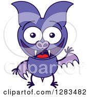 Clipart Of A Waving And Greeting Purple Vampire Bat Royalty Free Vector Illustration