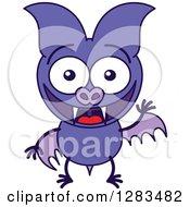 Waving And Greeting Purple Vampire Bat