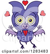 Clipart Of A Purple Vampire Bat In Love Royalty Free Vector Illustration by Zooco