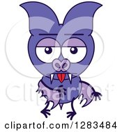 Clipart Of An Indifferent Purple Vampire Bat Royalty Free Vector Illustration by Zooco