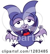 Clipart Of A Laughing Purple Vampire Bat Royalty Free Vector Illustration by Zooco