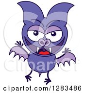 Clipart Of A Naughty Purple Vampire Bat Royalty Free Vector Illustration by Zooco