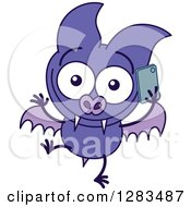 Clipart Of A Happy Purple Vampire Bat Talking On A Cell Phone Royalty Free Vector Illustration by Zooco