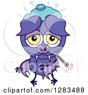 Clipart Of A Sick Purple Vampire Bat With An Ice Pack And Thermometer Royalty Free Vector Illustration by Zooco
