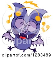 Clipart Of A Singing Purple Vampire Bat Wearing Music Headphones Royalty Free Vector Illustration by Zooco