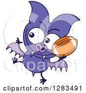 Clipart Of A Purple Vampire Bat Throwing A Football Royalty Free Vector Illustration