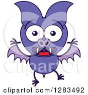 Clipart Of A Surprised Purple Vampire Bat Royalty Free Vector Illustration by Zooco
