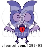 Clipart Of A Vomiting Purple Vampire Bat Royalty Free Vector Illustration by Zooco