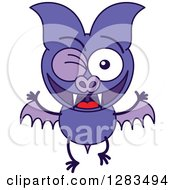 Clipart Of A Winking Purple Vampire Bat Royalty Free Vector Illustration by Zooco