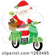 Clipart Of Santa Claus Waving And Driving A Christmas Scooter Royalty Free Vector Illustration