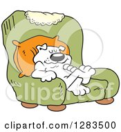 Clipart Of A Happy White Dog Relaxing In A Green Arm Chair Dogs Rule Royalty Free Vector Illustration by Johnny Sajem