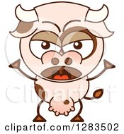 Clipart Of A Mad Cartoon Cow Shouting Royalty Free Vector Illustration