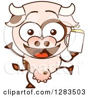 Clipart Of A Cartoon Cow Dancing With Beer Royalty Free Vector Illustration by Zooco