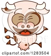Clipart Of A Cartoon Cow Jumping And Celebrating Royalty Free Vector Illustration by Zooco