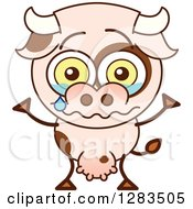 Clipart Of A Sad Cartoon Cow Crying Royalty Free Vector Illustration by Zooco