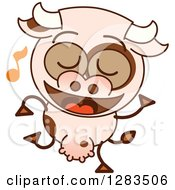 Clipart Of A Cartoon Cow Dancing To Music Royalty Free Vector Illustration by Zooco