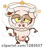 Clipart Of A Dizzy Cartoon Cow Royalty Free Vector Illustration