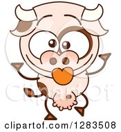 Clipart Of A Cartoon Cow Making Funny Faces Royalty Free Vector Illustration by Zooco