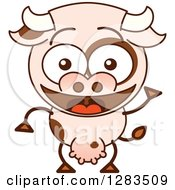 Clipart Of A Cartoon Cow Smiling And Waving Royalty Free Vector Illustration