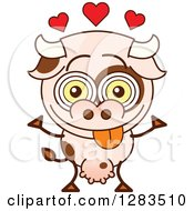 Cartoon Cow In Love With Hearts