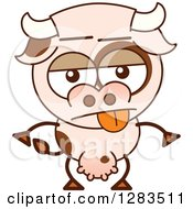 Clipart Of An Indifferent Cartoon Cow Royalty Free Vector Illustration by Zooco