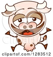 Clipart Of A Cartoon Cow Laughing And Jumping Royalty Free Vector Illustration by Zooco