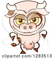 Clipart Of A Naughty Cartoon Cow Royalty Free Vector Illustration