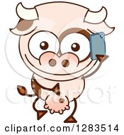 Clipart Of A Cartoon Cow Talking On A Cell Phone Royalty Free Vector Illustration by Zooco