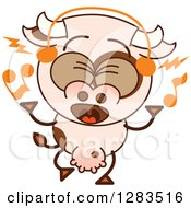 Clipart Of A Cartoon Cow Singing And Wearing Music Headphones Royalty Free Vector Illustration by Zooco