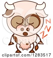Clipart Of A Cartoon Cow Sleeping Upright Royalty Free Vector Illustration by Zooco