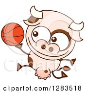 Clipart Of A Cartoon Cow Playing Basketball Royalty Free Vector Illustration by Zooco
