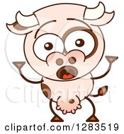 Clipart Of A Surprised Cartoon Cow Royalty Free Vector Illustration by Zooco