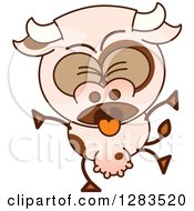 Clipart Of A Vomiting Cartoon Cow Royalty Free Vector Illustration by Zooco