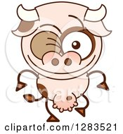 Clipart Of A Winking Cartoon Cow Royalty Free Vector Illustration by Zooco