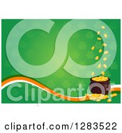 Clipart Of A Green Shamrock Patterned St Patricks Day Background With Gold Coins Falling Into A Pot Over An Irish Colored Wave Royalty Free Vector Illustration