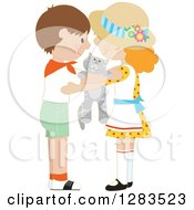 Clipart Of A Brunette Caucasian Boy And Red Haired Girl Hugging Around A Tabby Kitten Royalty Free Vector Illustration by Maria Bell