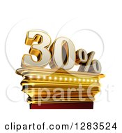 Clipart Of A 3d Thirty Percent Discount On A Gold Pedestal Over White Royalty Free Illustration
