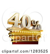 Clipart Of A 3d Forty Percent Discount On A Gold Pedestal Over White Royalty Free Illustration
