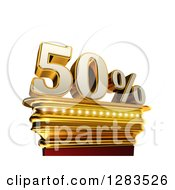 Clipart Of A 3d Fifty Percent Discount On A Gold Pedestal Over White Royalty Free Illustration